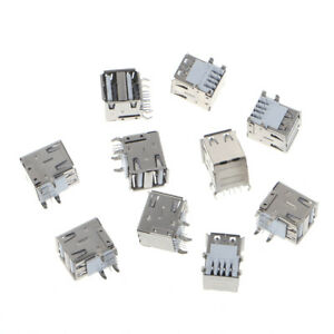 10pcs Dual Usb 2 0 Female Type A 8 pin Dip Right Angle Jack Socket Connector