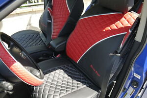 New Seat Cover 33021 Circle Cool Leather Black Red Set Seat Belt Shift Suv Car