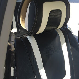 Circle Cool 34011 Seat Cover Black Carbon Fiber Style White Leather Custom Fit