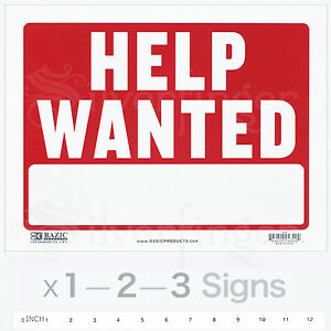 Help Wanted Sign 9 X 12 Inch Employment Jobs Ad Employee Work Plastic X1 2 3