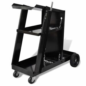 Welder Trolley Welding Cart Plasma 3 shelf Heavy Duty Workshop Organizer Garage