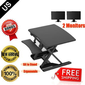 Height Adjustable Standing Desk Sit Stand Tabletop Home Office Game Pneumatic
