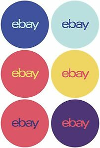 6 color Round Ebay branded Sticker Multi pack 3 X 3