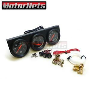 Universal 2 5 8 Black Oil Pressure Water Volt Triple 3 Gauge Set Gauges Kit