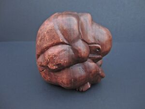 Hand Carved Wooden Weeping Buddha Crying Man Sculpture Solid Wood Figure 6 X 6
