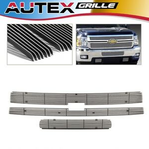 3x Chrome Billet Grille Grill Insert For 2011 2014 Chevy Silverado 2500hd 3500hd