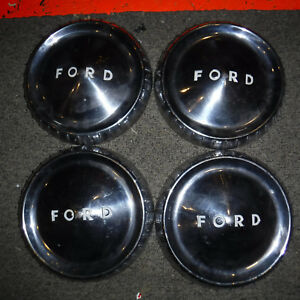 1960 63 Ford Econoline Dog Dish Bottle Cap Hubcaps Set Of 4 Oem