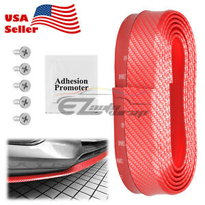 Universal Carbon Fiber Red Front Bumper Lip Splitter Chin Spoiler Body Kit Trim