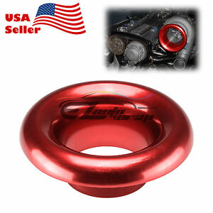 4 Red Aluminum Short Ram Cold Air Intake Filter Velocity Stack Flow Turbo Horn