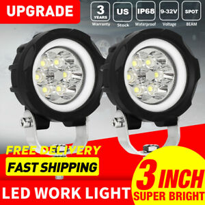Pair Blue 3inch 70w Round Led Driving Light Offroad Truck 4wd Bumper Fog Lamp 4