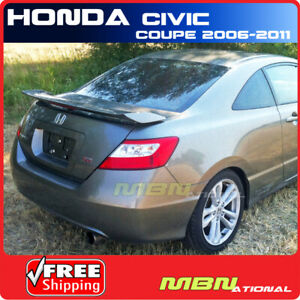 06 11 For Honda Civic 2d 2d Si Style Rear Trunk Wing Spoiler Primer Unpainted
