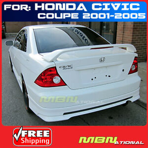 01 05 For Honda Civic 2d 2d Rear Tail Trunk Wing Spoiler Primer Unpainted Abs