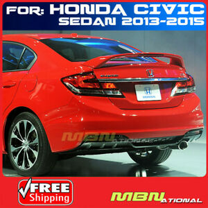 13 15 For Civic Si 4d Led Tail Trunk Rear Spoiler Wing Lip Primer Unpainted