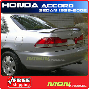 98 02 For Honda Accord 4d 4d Rear Trunk Tail Wing Spoiler Primer Unpainted Abs