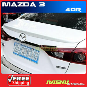 Painted Spoiler For 14 16 Mazda3 Mount Abs Rear Trunk 38p Liquid Silver Metallic