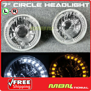 Universal 7 Inch Diamond Cut Projector Headlight Lamp White Amber Signal