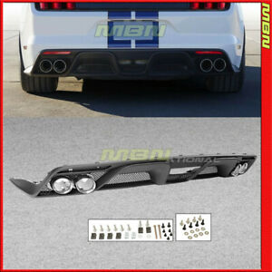 Fits 2015 2017 Mustang Gt 350 Style Rear Bumper Diffuser With Dual Exhaust Pipes