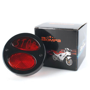 Bompa Motorcycle Stop Script Led Brake Stop Tail Light Red Lens Universal Fit