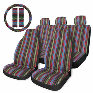 Universal Colorful Baja Saddle Blanket Bucket Car Seat Cover 10pc W Wheel Cover