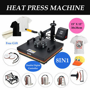 15x15 8in1 T shirt Heat Press Machine Transfer Cap Machine Printing