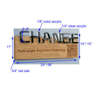 Oak Acrylic Custom Sign For Store Show Window Front Desk Background Office Decor
