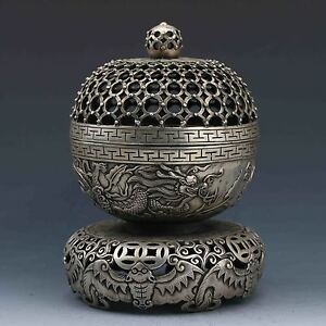 Asian China Old Antiques Tibet Silver Hand Carved Dragon Bat Ball Incense Burner