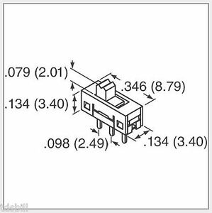 Pk 25 3 terminal Pin Pcb Mount 2 position Spdt Tiny Sub miniature Slide Switches