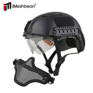 Military Tactical Airsoft Paintball SWAT Protective FAST Helmet W. Goggle Mask $30.07