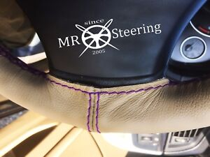 Beige Leather Steering Wheel Cover Purple Double Stitch For Truck Volvo Vnl 780