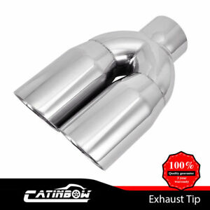 Dual Stainless Exhaust Tip 2 5 Inlet 3 Outlet 9 5 Long Double Wall Angle