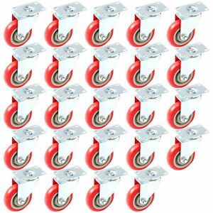 24 Pack Caster Swivel Plate W Brake On Red Polyurethane Wheels 4 No Brake