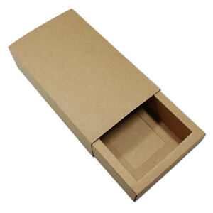 Foldable Gift Craft Kraft Paper Drawer Box Christmas Thanksgiving Packing Boxes