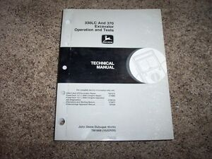 John Deere 330lc 370 Excavator Operation Test Shop Service Repair Manual Tm1669