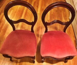 Pair Of Carved Victorian Chairs Side By Side Chairs