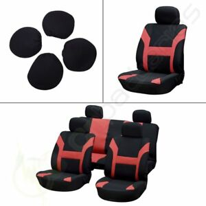 8pcs New Red Black Polyester Car Seat Covers W Headrest Covers For Porsche