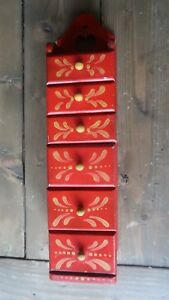 Vintage 1970 S Red Tea Wall Hanging Spice Tea Cabinet Apothecary 6 Drawer