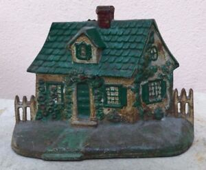 Antique Cast Iron Doorstop Painted House And Front Yard