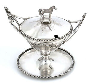 Coin Silver Wood Hughes Condiment Dish 3d Horse Mask