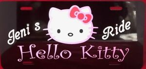 Hello Kitty Custom Personalized License Plate Engraved Auto Car Tag Vanity Plate