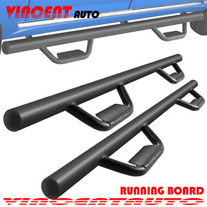 3 Fit 07 18 Chevy Silverado Crew Cab Side Step Running Board Nerf Bar Blk Hoop
