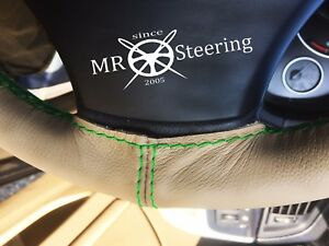 For Freightliner Sprinter Beige Leather Steering Wheel Cover Green Double Stitch