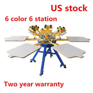 Us 6 Color 6 Station Screen Printing Press Machine For T shirt Printer Carousel