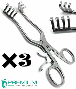 3 Weitlaner Retractors 6 5 Blunt 3x4 Prongs Surgical Premium Instruments