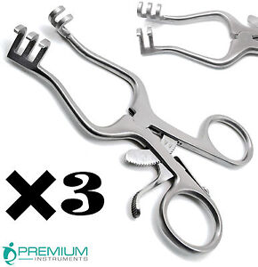 3 Weitlaner Retractors 4 5 Blunt 3x4 Prongs Surgical Premium Instruments