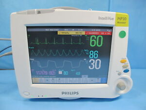 Philips Intellivue Mp30 Patient Monitor W M3001a Module Cables 90 Day Warranty