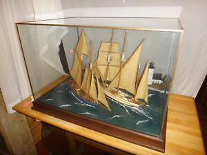 Cased Nautical Sailing Ship Model W Lighthouse Cottage Museum Quality Not A Kit