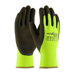 Heavyduty Hi vis Lime Thermal Insulated Microgrip Work Gloves Lot Of 6 3 Or 1