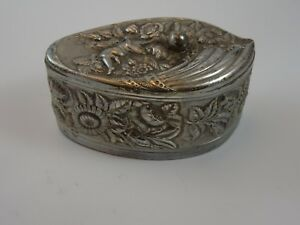 Silverplate Art Nouveau Dresser Trinket Box With Anglel And Flowers