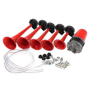 12v 5 Red Tube Air Horn Dukes Of Hazzard General Lee For Car Boat Reliable Abs