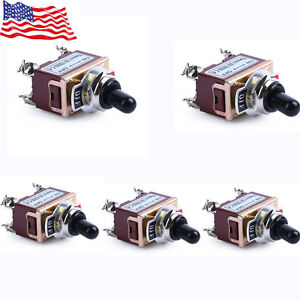 5x Heavy Duty 20a 125v Dpst 4 Terminal On Off Toggle Switch With Boot Us Stock